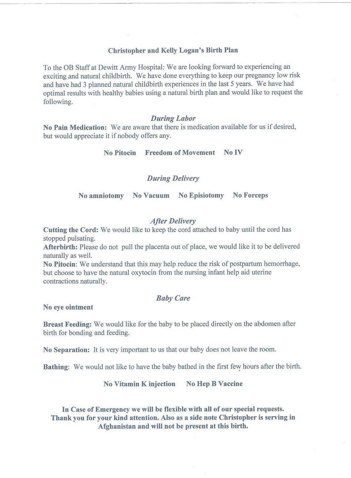 form letter example the commandment birth plan and simple 30601