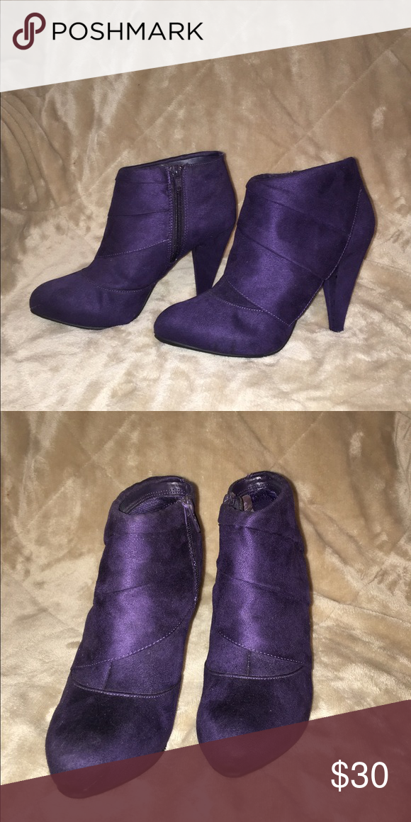 Purple boots Fun ankle boots. Easy to walk in and you could run a little if you need to catch a bus 😊 Can go with any pants style, thigh high or leggings. Ready for shipping ✨ FIONI Clothing Shoes Ankle Boots & Booties