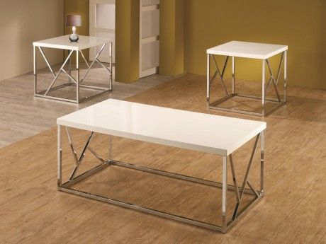High Gloss Occasional Table with White Tops & Chrome Bases