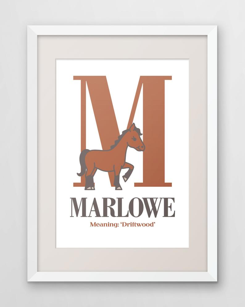 Young horse (foal) with personalized initial and name ...