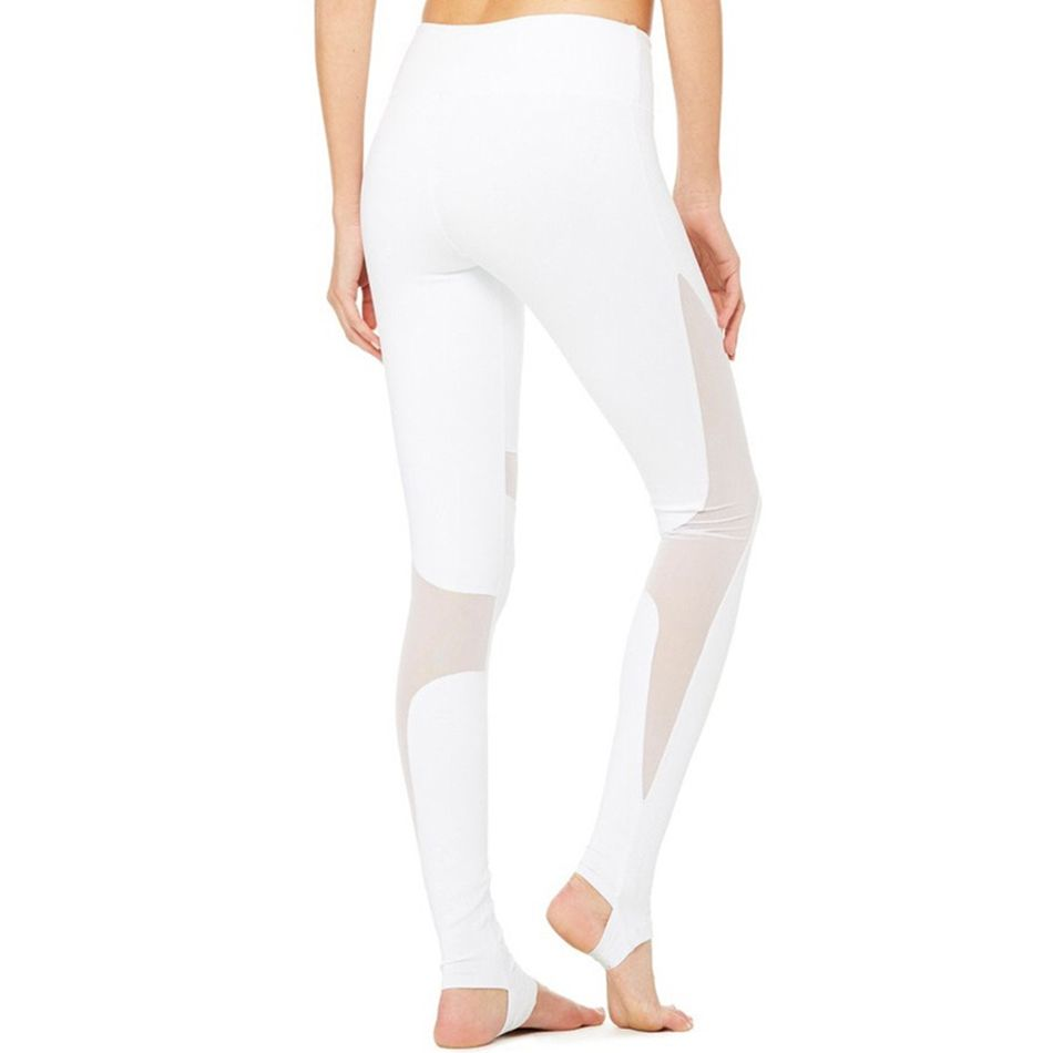 AyoPanda Women Mesh Patchwork Leggings High Waist White Yoga Pants ...