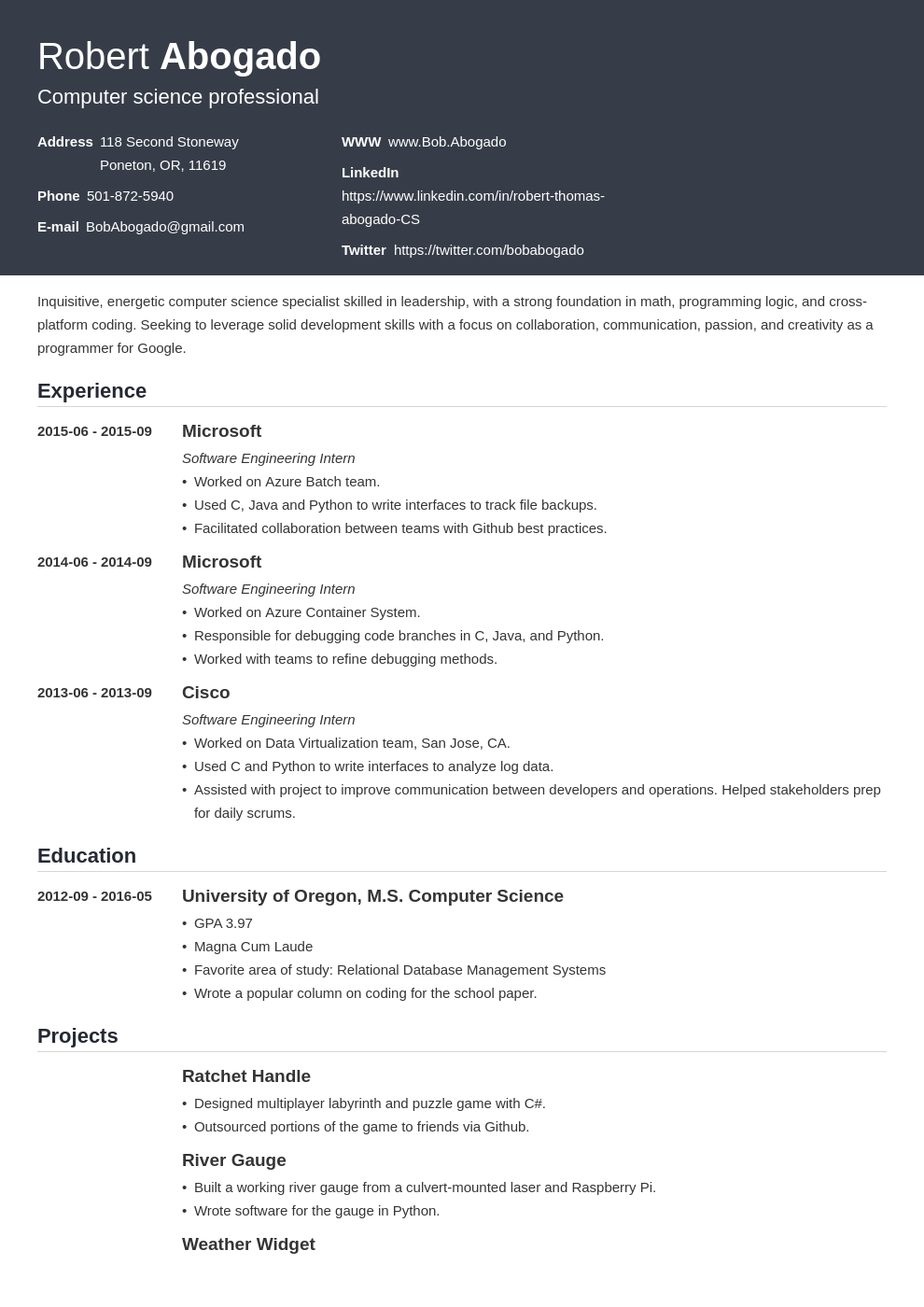 If you're going to write a resume objective for your computer science resume, it should be perfect. Computer Science Resume Template Influx Resume Examples Resume Design Resume Template