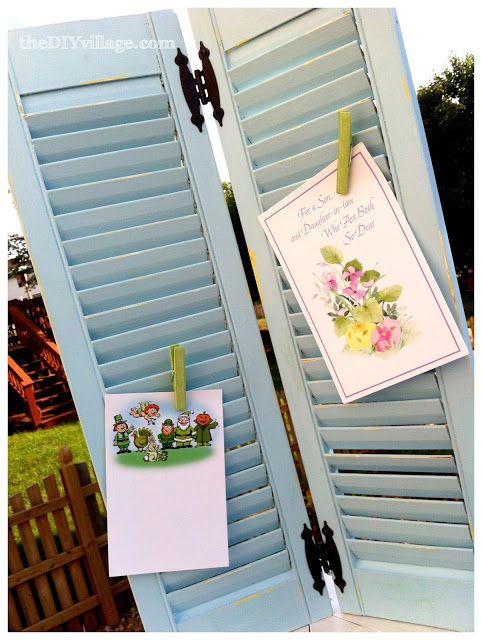 Diy Greeting Card Display Repurposed Shutters The Diy Village Greeting Card Display Christmas Card Display Shutters Repurposed