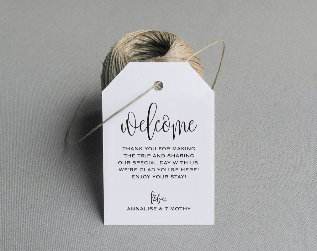 Welcome Wedding Tag, Wedding Welcome Bag Tag, Wedding Welcome Gift ...