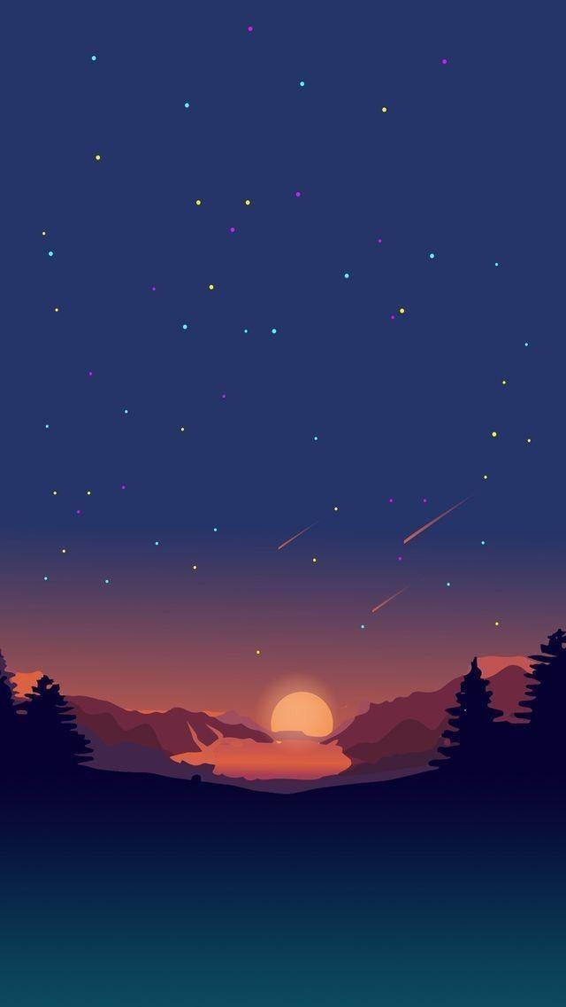 sunset/mountain/star/digital art/building/architecture/night/abstract/illustration