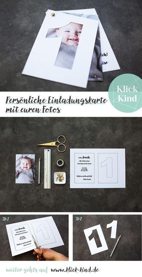 Photo of Einladungskarte zum Kindergeburtstag mit eigenem Foto vom Kind basteln