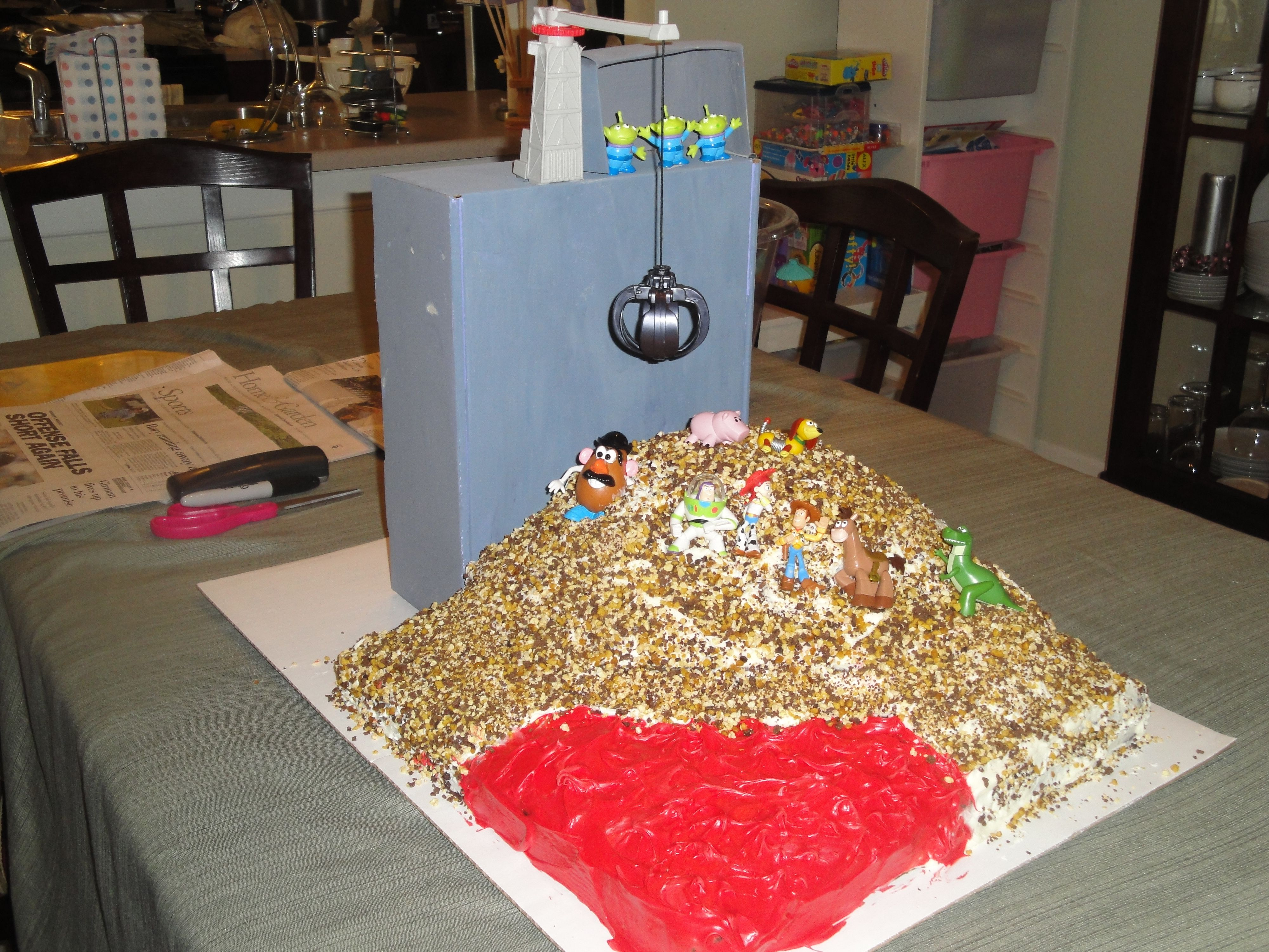 My Daughters 4th Birthday Toy Story Incinerator Scene Cake My