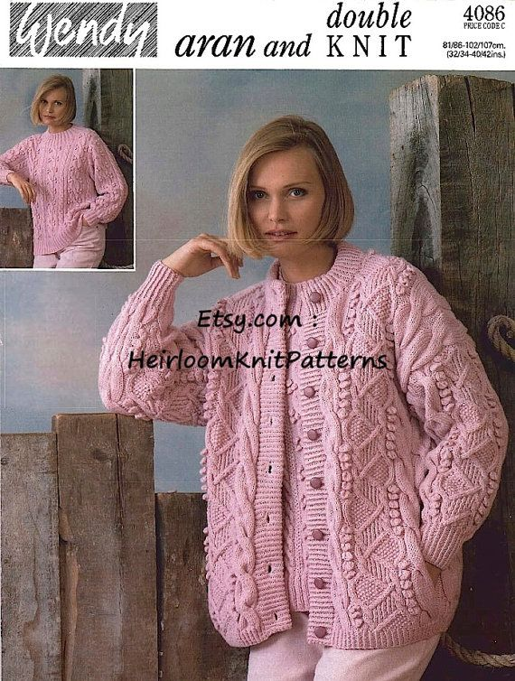 Women\'s Aran Cardigan and DK Sweater Knitting Pattern Knit Ladies ...