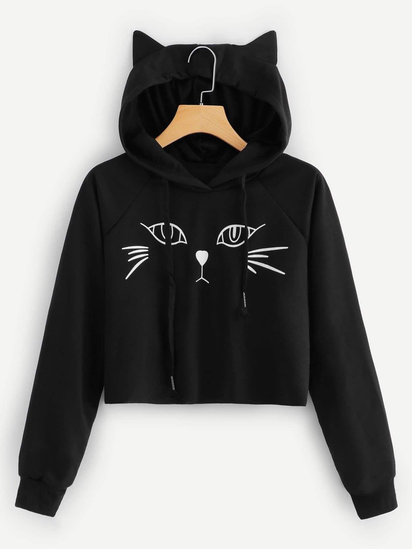 Photo of Black Cat Graphic Hooded Sweatshirt CS370427
