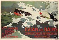 Evian Les Bains speedboat automobile racing event art poster print SKU3489