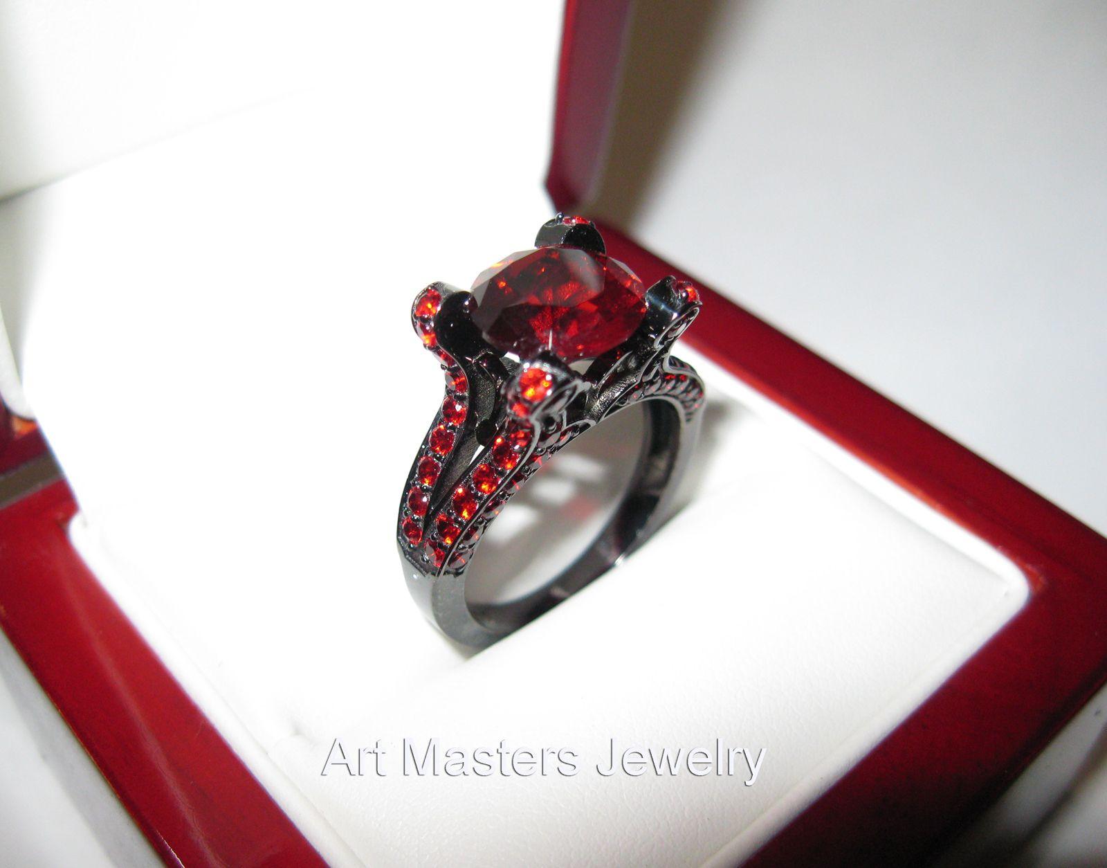 d52cb1af7ee7d French Vintage 14K Black Gold 3.0 CT Ruby Pisces Wedding Ring ...
