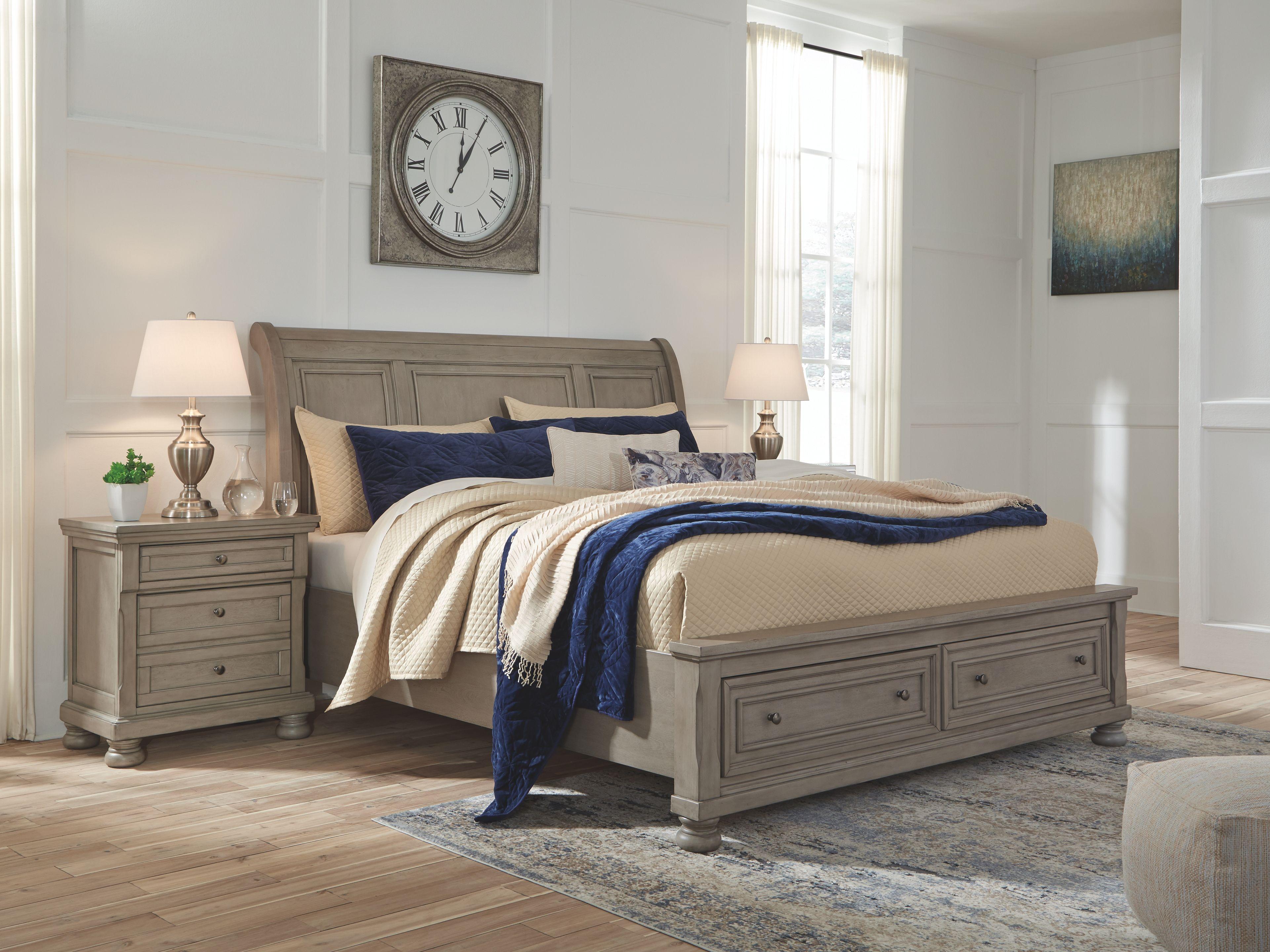 Lettner California King Sleigh Bed Light Gray In 2020 Bedroom