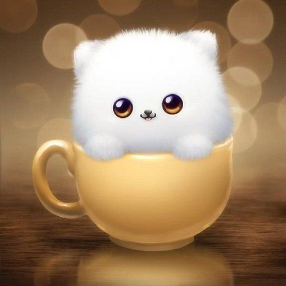5D DIY Diamond Painting Cat in Cup Mosaic Cross Stitch Full Square Drill 3D Diamond Painting kit Sti