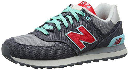 New Balance Womens WL574 Winter Harbor Pack Classic Running Shoe GreyRed  55