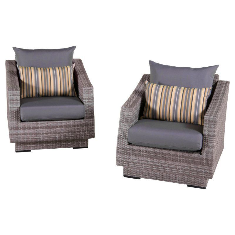 Outdoor RST Brands Cannes Club Chair - Set of 2 Charcoal ...