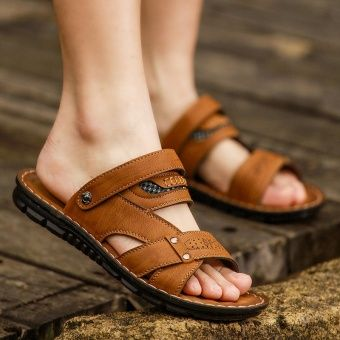 954e137ce18 Summer open toe sandals male mens sandals slip beach slippers breathable  casual shoes men male korean men leather sandals child Yellow