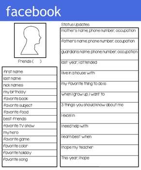 facebook student information worksheet worksheets students and facebook. Black Bedroom Furniture Sets. Home Design Ideas