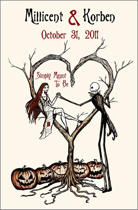 save the dates with jack and sally on etsy  nightmare
