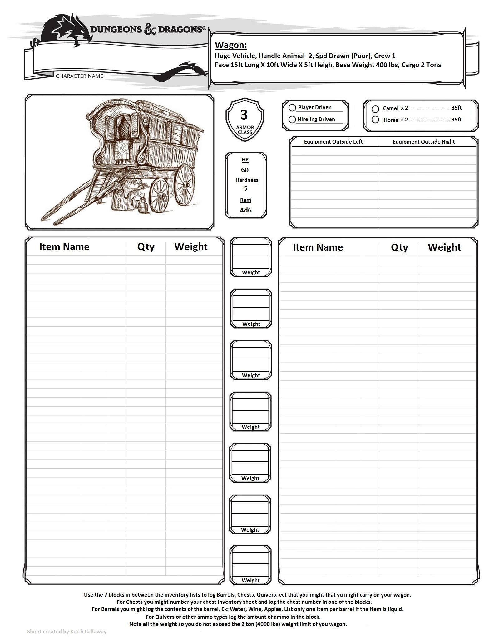 wagon inventory sheet for dungeons  u0026 dragons