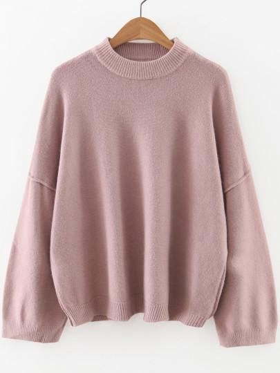 60337f12e9 Pink Oversize Sleeve Crew Neck Sweater
