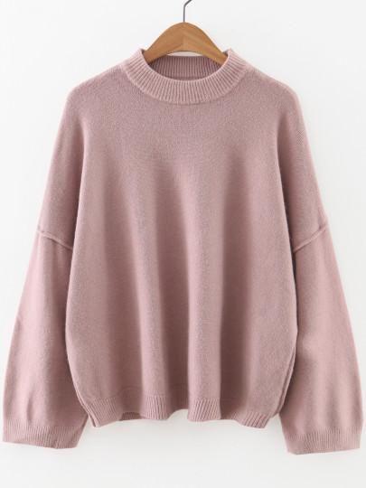 Pink Oversize Sleeve Crew Neck Sweater   Crew neck sweaters ...