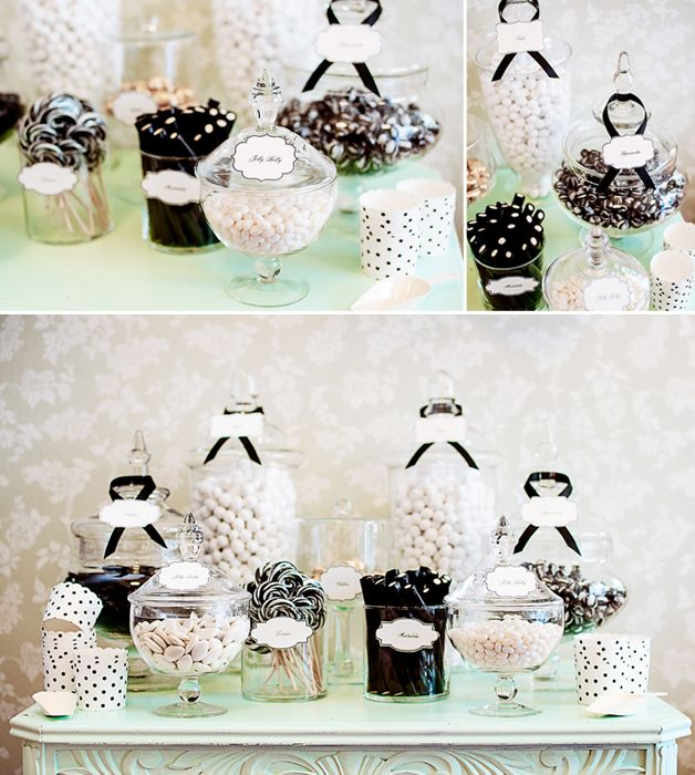 Wedding Table Decoration Ideas On A Budget: Black, White & Mint Candy Buffet