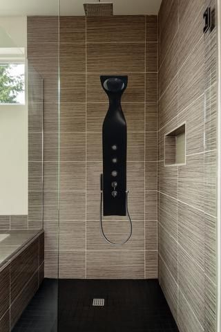 aquatica elise wall-mounted solid surface shower panel in