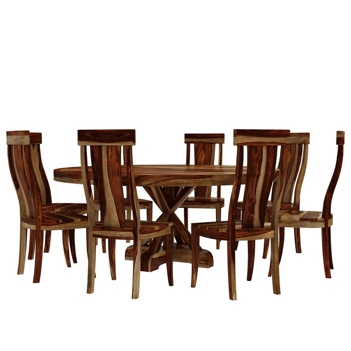 Bedford X Pedestal Rustic 72 Round Dining Table With 8 Chairs Set