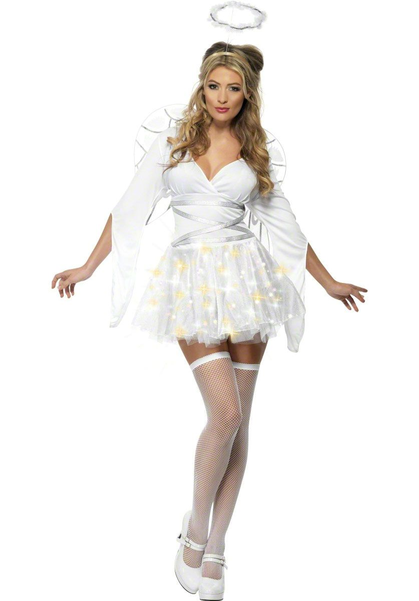 Heavenly Angel Christmas Guardian Fancy Dress Up Halloween Adult Costume 2 pc