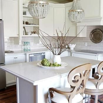 Small Kitchen Island With Gray Beaded Chandeliers Kitchen Design