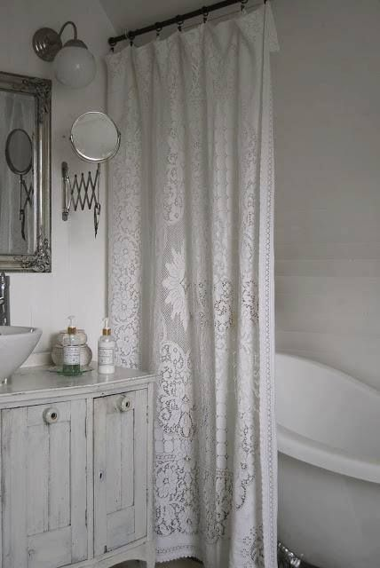 Shabby Chic Everything About This Bathroom Is Me The White Bottles That CURTAIN