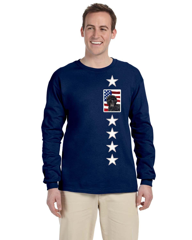 Usa american flag with affenpinscher long sleeve blue unisex tshirt