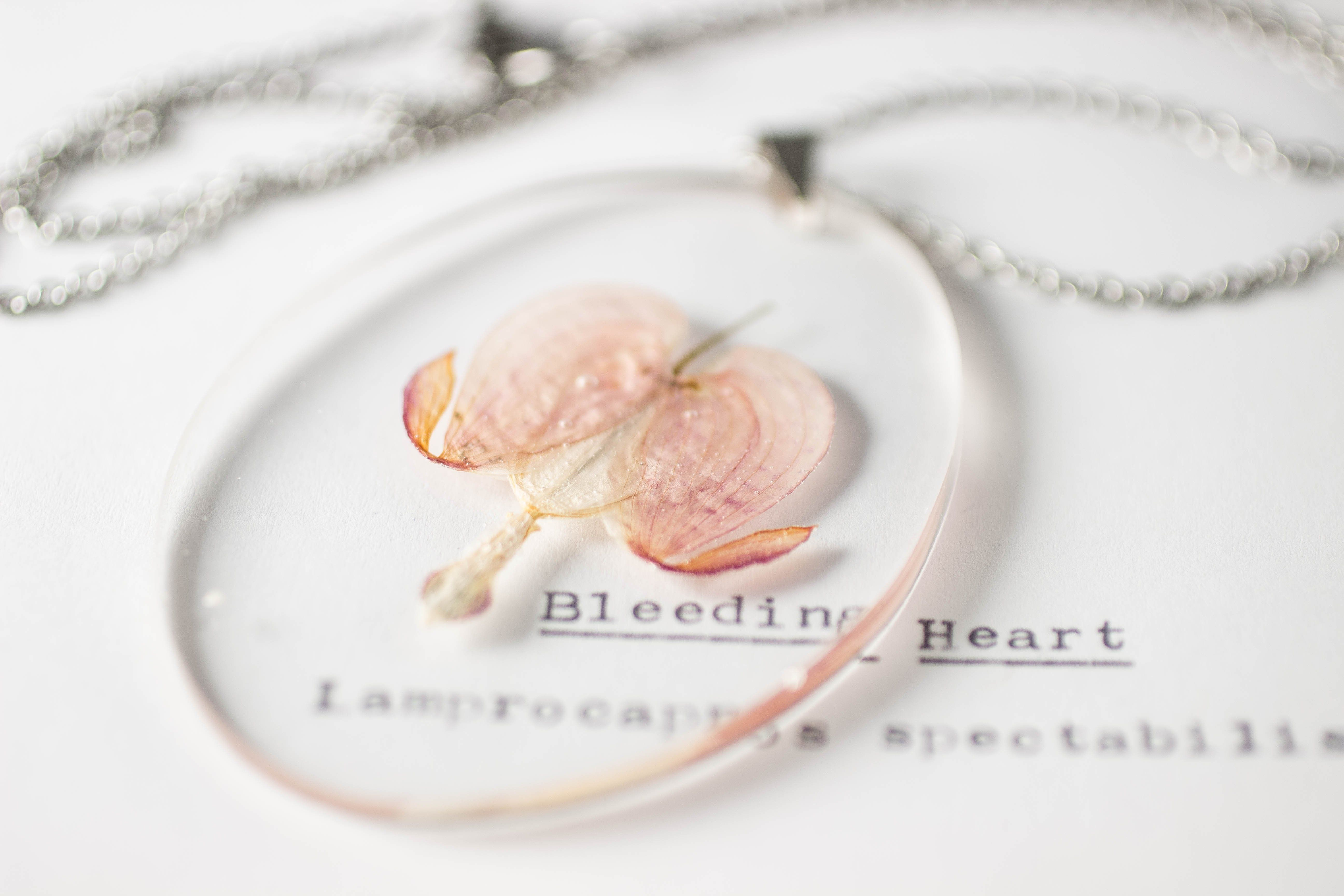 This Pendant Contains One Small Specimen Of Bleeding Heart Lamprocapnos Spectabilis Pressed And Preserved In A Pane Botanical Jewelry Bleeding Heart Pendant