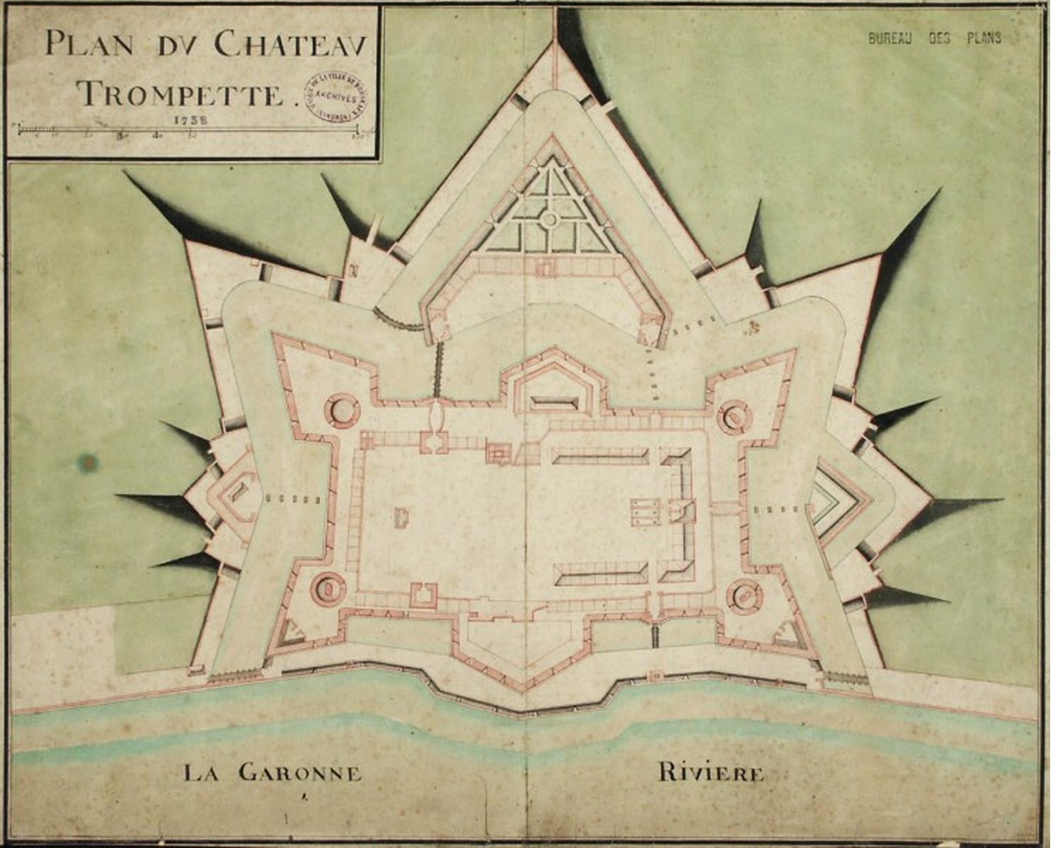 Plan du château Trompette en 1738