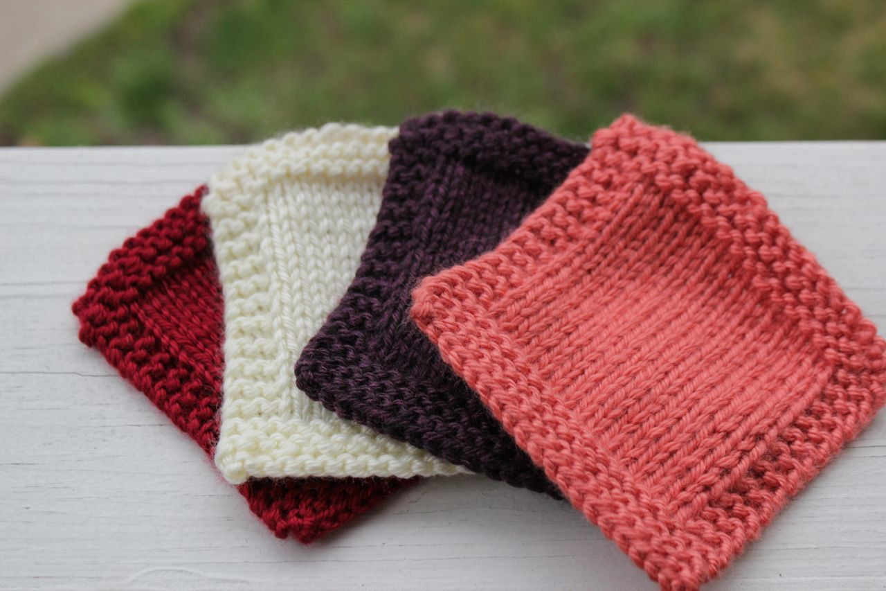 Knit Coasters Set of 4 - Table Coasters - Red White Purple Pink ...