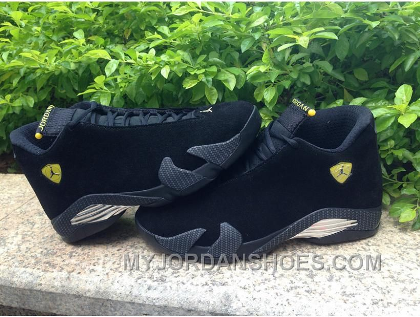 purchase cheap 58c99 e7386 Jordan 14 XIV Black Suede Ferrari All Black Yellow WGnb2 ...