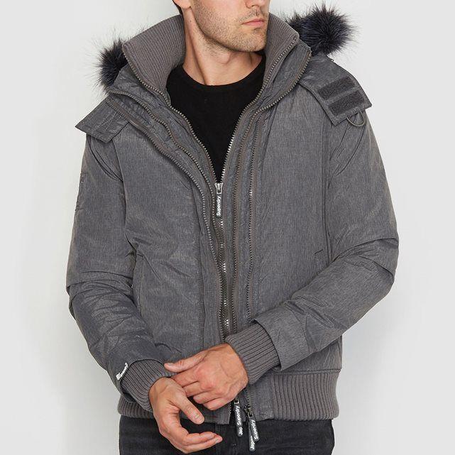 bombers capuche microfibre fur hood superdry pas cher. Black Bedroom Furniture Sets. Home Design Ideas
