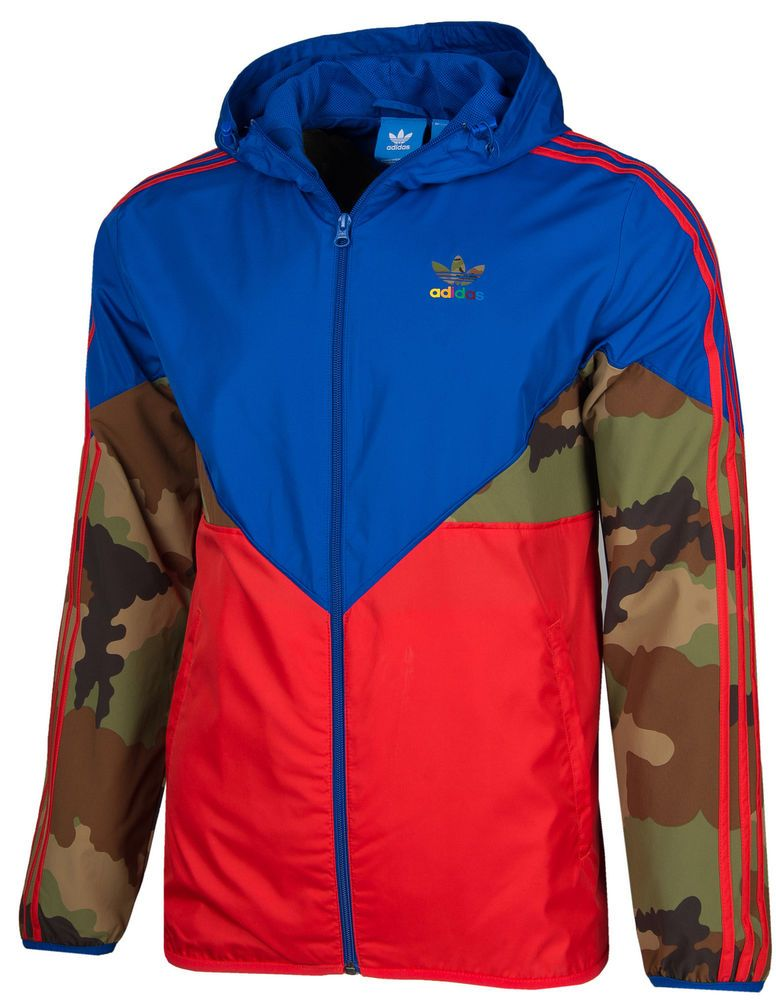 1b5e1684b2a6 ADIDAS ORIGINALS CAMO MEN S HOODED WINDBREAKER JACKET HIP-HOP STYLE  ADICOLOR