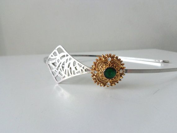 Bridal Green gold rhinestones flower silver metal by stavroula