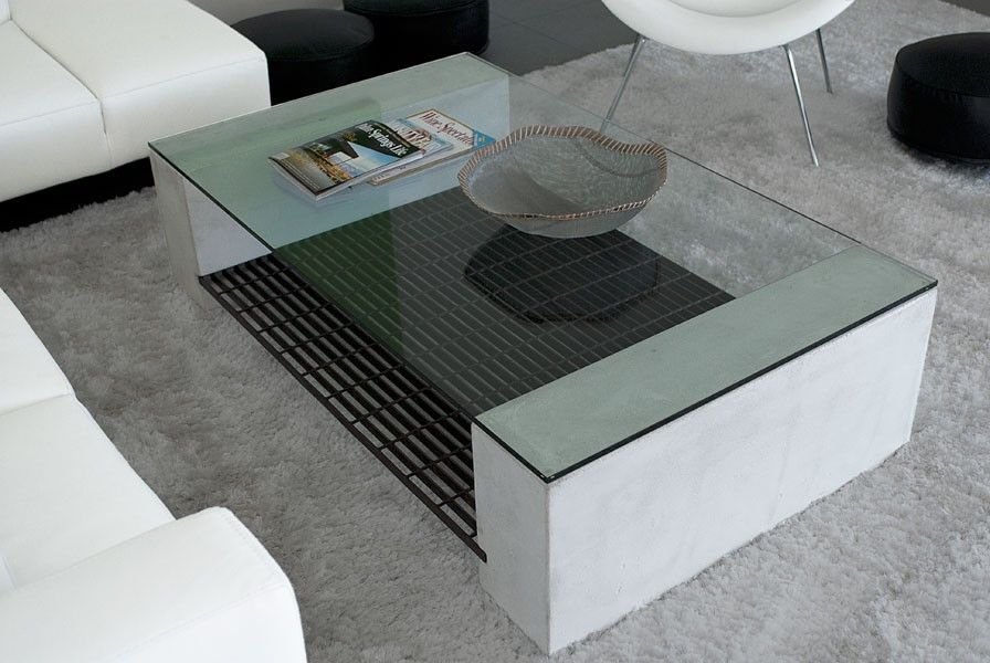 James DeWulf Steel Grating Coffee Table Pinterest Steel - Concrete and glass coffee table