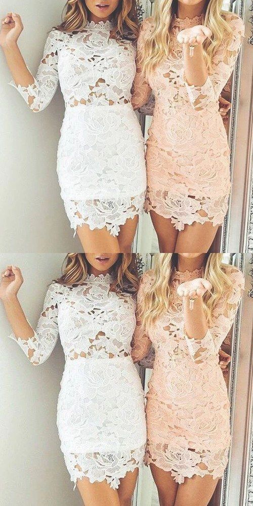 88bf4e0c3f6 Sheath Round Neck 3 4 Sleeves White Pink Lace Short Homecoming Dress ...