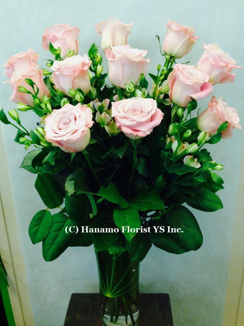 Rose404 1 Doz Premium Long Stem Ecuadorian Pink Rose In Vase Hanamo Florist Online Store Vancouver Bc Canada Quality Online Florist Floral Floral Wreath