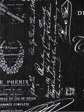 Cuba Black White French Laundry Script Fabric For Drapery Panels
