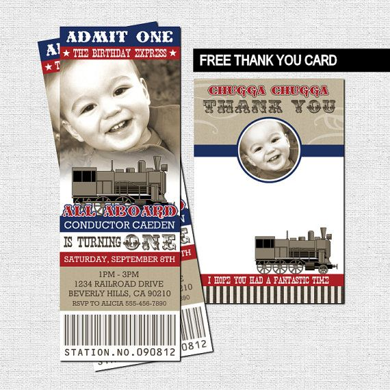 TRAIN TICKET INVITATIONS + Free Thank You Card (Birthday Party - printable ticket invitations