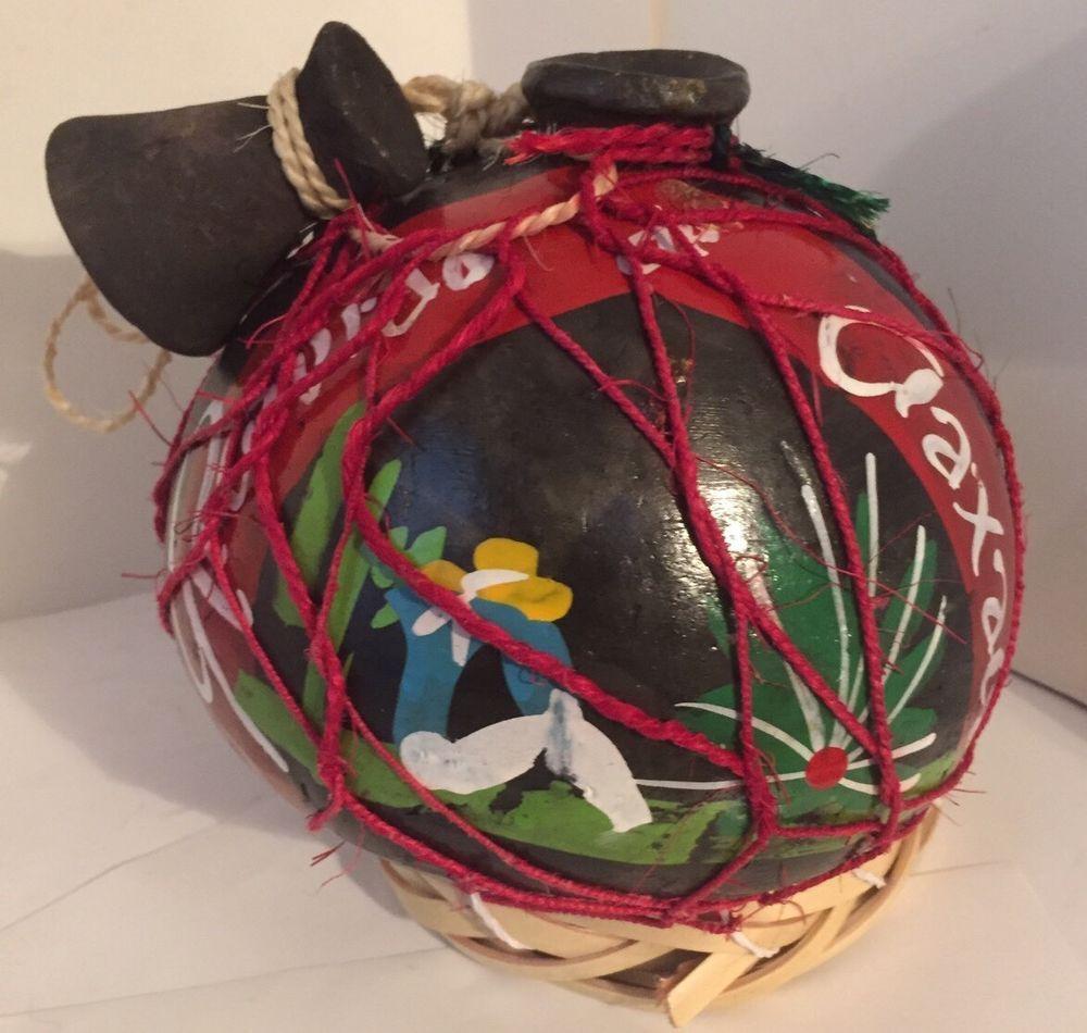 RARE Recuerdo de Oaxaca Mezcal Black Pottery Clay Bottle