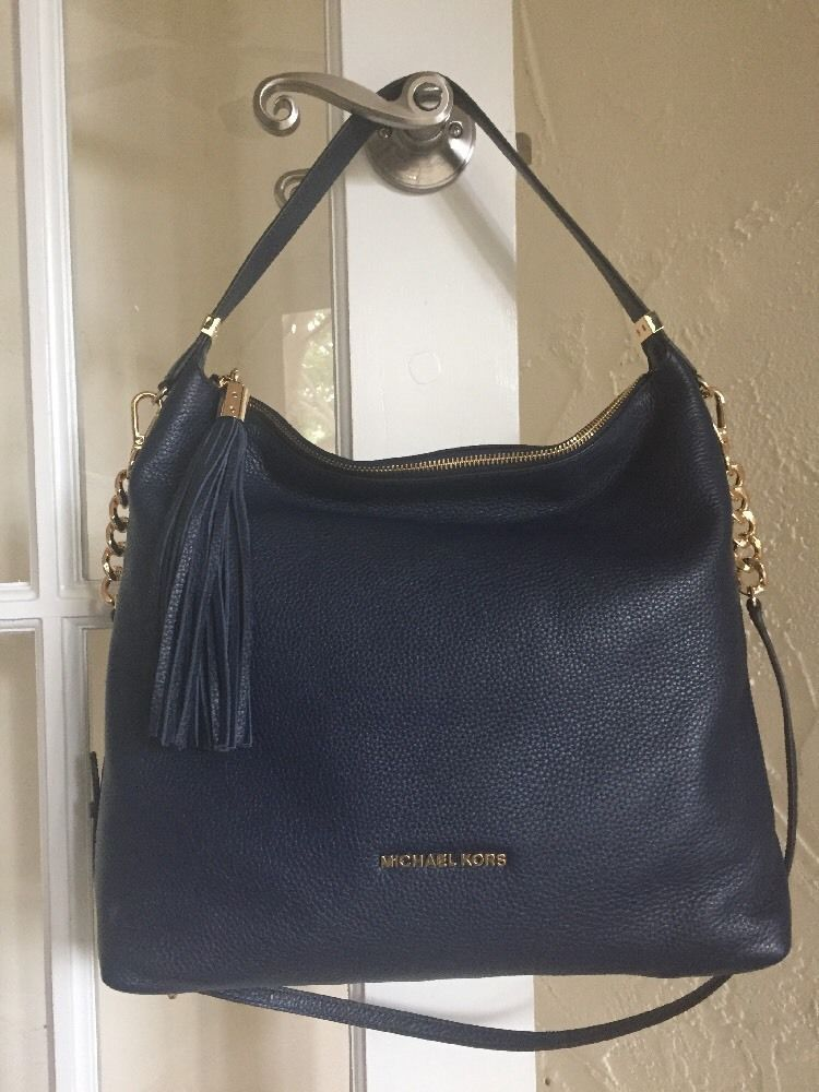 0001f4f99a18 Michael Kors Bedford Tassel Large TZ Shoulder Bag Navy Blue Leather   MichaelKors  ShoulderBag