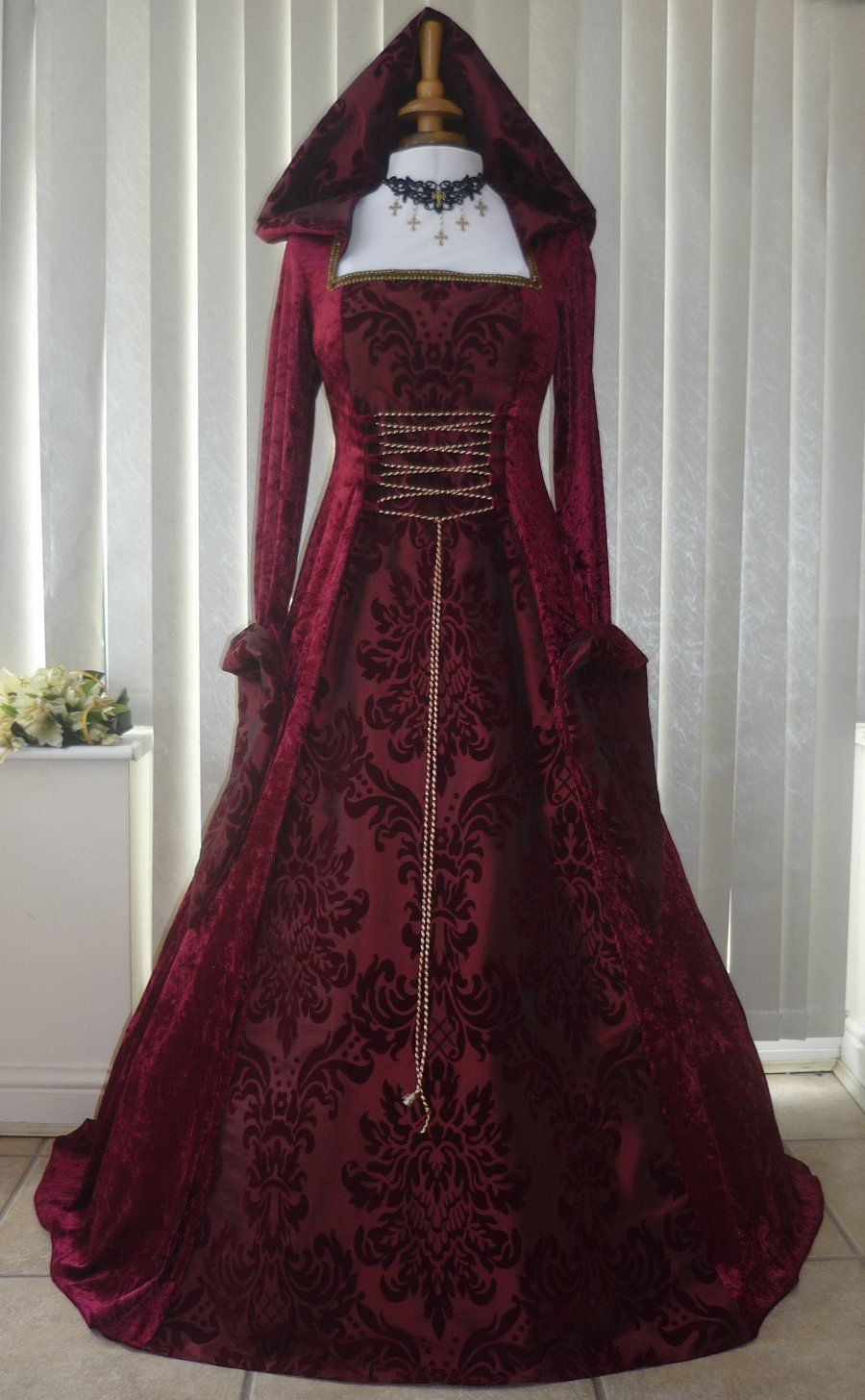 f230002b4da Medieval Gothic Handfasting Hooded Wedding Dress Burgundy