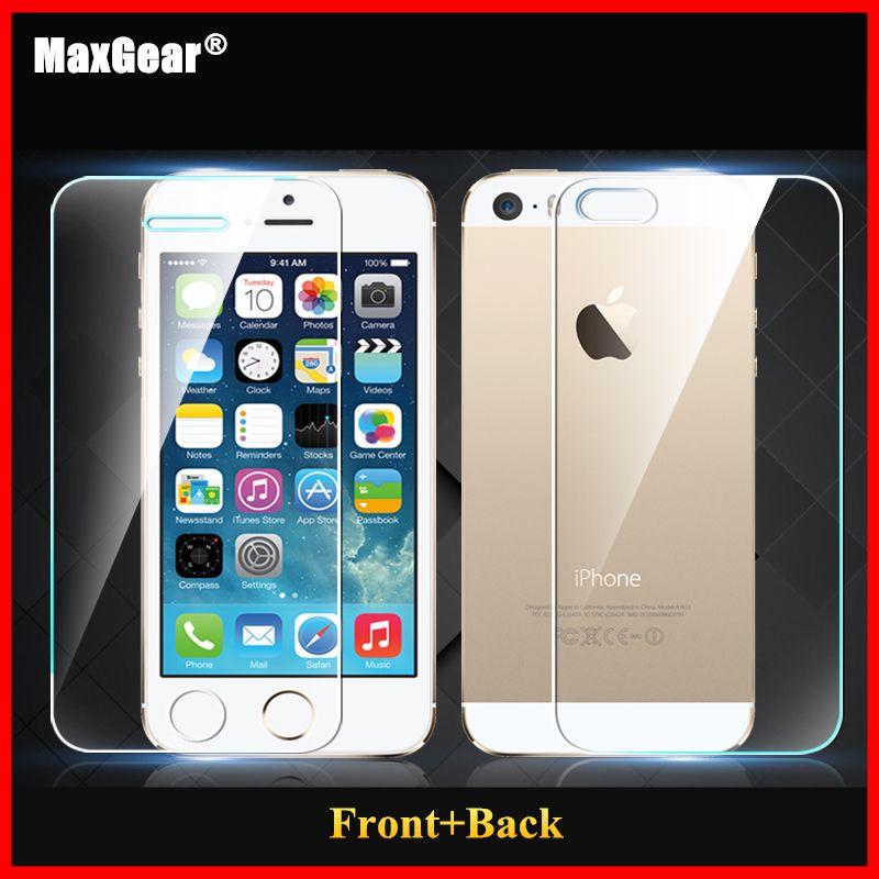 0.3mm 9 H Voor + Back Gehard Glas Voor iPhone 5 5 S Screen Protector Anti Shatter Film 2014 nieuwe Gratis Bezorging