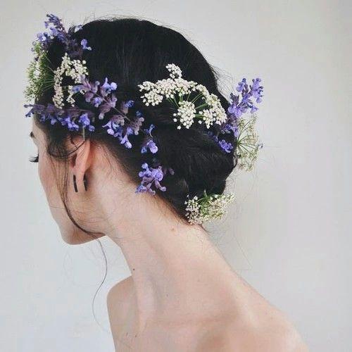 Lavender Flower Hair Wedding Style: Dark Brunette Updo