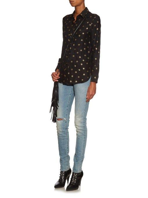 Saint Laurent Star-embroidery silk shirt